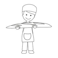 Panadero con barra de pan líneas