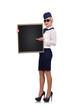 stewardess holding blackboard