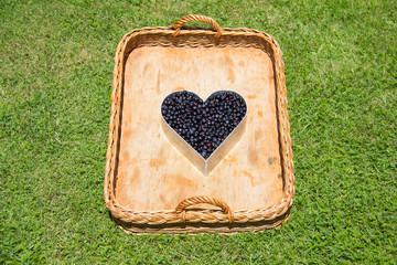 Wicker Basket With Blue Berry Heart