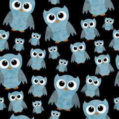 Blue Owls on Black Textured Fabric Repeat Pattern Background