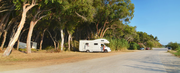 caravan road and trees in the summer