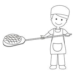 Panadero sacando el pan del horno líneas