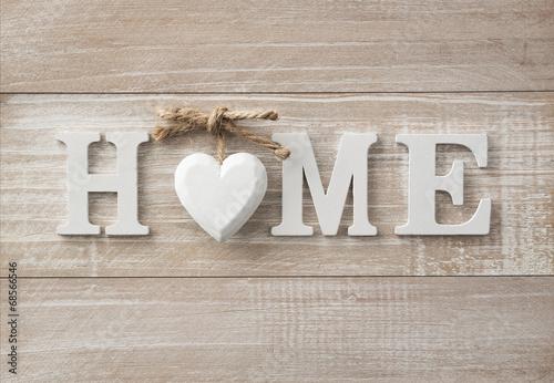 Domowy słodki dom, drewniany tekst na rocznik desce