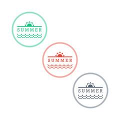 Collection of retro vintage styled summer badges