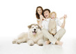 family and dog, happy smiling baby isolated white background