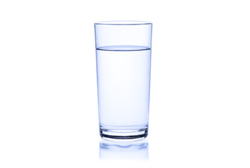 Glass of water on a white background