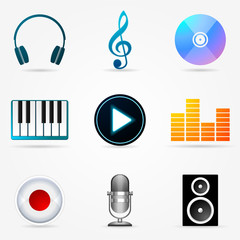 Set of icons of Music theme