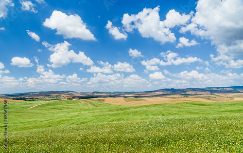 Scenic Tuscany landscape with rolling hills in Val d'Orcia
