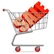 Big red sale word in shopping cart.