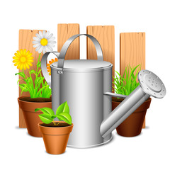 Watering can and potted plants and flowers.