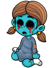 Vector illustration of Cartoon zombie girl