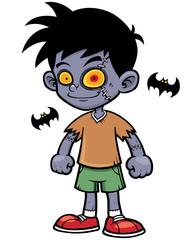 Vector illustration of Cartoon zombie boy