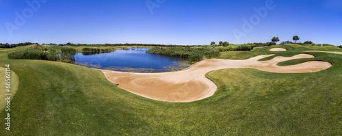 Fototapeta Landscape view of a golf course in the Algarve.