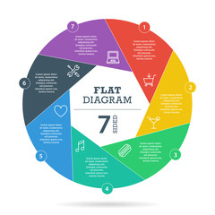 Colorfull flat shutter diagram vector business presentation