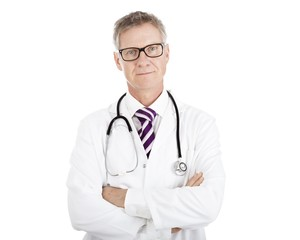 Doctor in Glasses Having Stethoscope on Shoulders