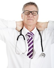 Tired Medical Doctor Holding his Back Neck