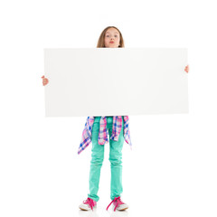 Little girl with big white banner