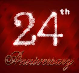 24 year happy birthday card, 24th anniversary sparkles
