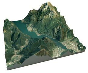 Vista aerea del lago di Lecco e zone limitrofe mappa in 3d