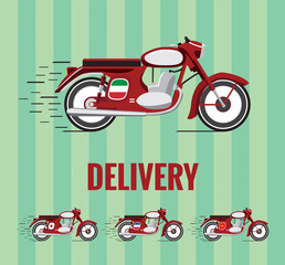 Delivery motorcycle drawing with versions for cuisines