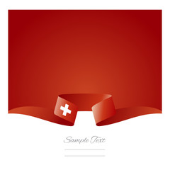 Abstract background Swiss flag ribbon