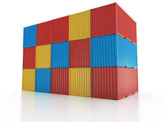 metal freight shipping containers wall on white background