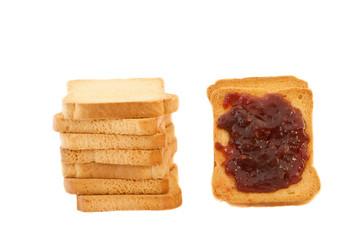 golden rusk and raspberry jam