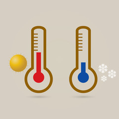 Two thermometers, high and low temperature.