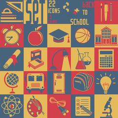 Set Back to school, vector, 22 flat icons (Education symbols)