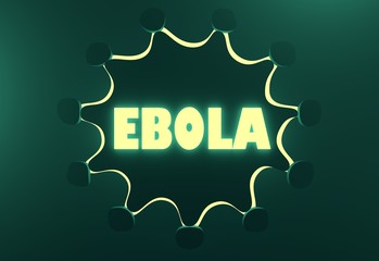 Ebola neon text on virus icon