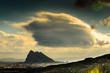 canvas print picture - Gewitterstimmung ueber Felsen von Gibraltar