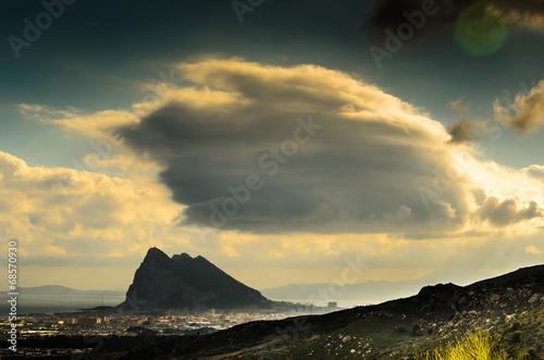canvas print picture Gewitterstimmung ueber Felsen von Gibraltar