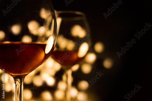 Staande foto Wijn 2 Red wine glasses. Christmas romantic dinner image.