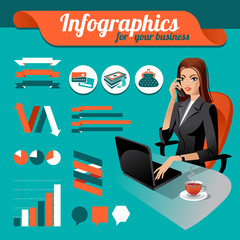Business nfographics. Set of infographics elements