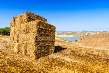 Straw bales and lake near Asciano in Crete Senesi, Tuscany