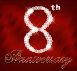 8 year happy birthday card, 8th anniversary sparkles