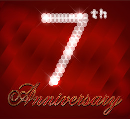 7 25 year happy birthday card, 7th anniversary sparkles