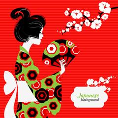 Japanese girl silhouette