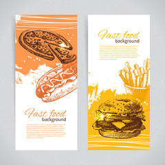 Banners of fast food design. Hand drawn illustrations