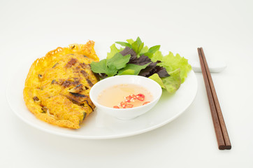 Banh Xeo, Vietnamese pancake with vegetables and fish sauce