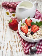 grain muesli with strawberries