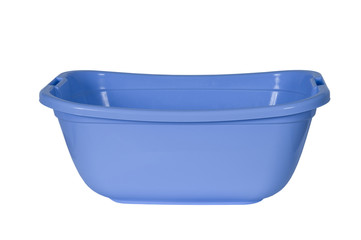 Blue plastic basin, isolated on a white background