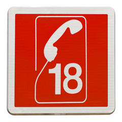 panneau appel pompiers 18