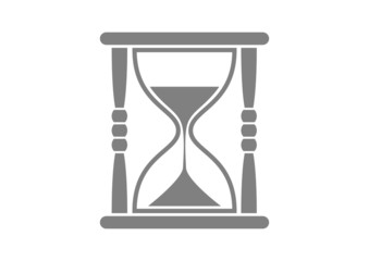 Grey hourglass icon on white background