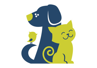 Pet cat dog bird service logo