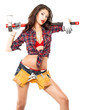 Sexy brunette in a plaid shirt
