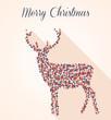 Merry Christmas geometric reindeer postcard