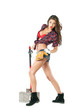 Sexy brunette with an ax in his hand