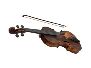 Violin On White - Stock Image
