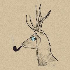 Hipster reindeer smoking tobacco pipe